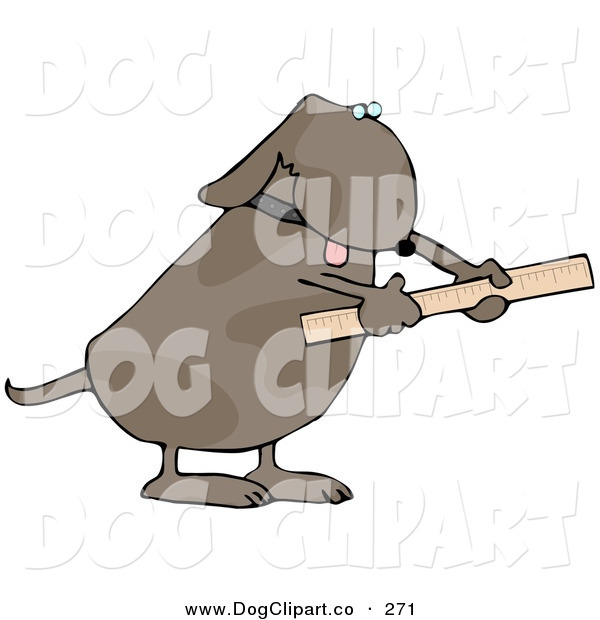Clip Art of a Handy Dog Using a Ruler to Measure