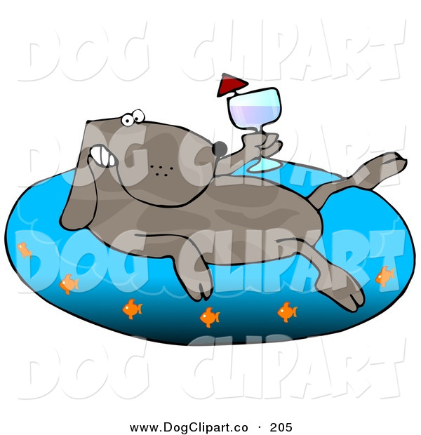 Clip Art of a Happy Brown Dog Drinking Wine and Soaking in an Inflatable Kiddie Pool
