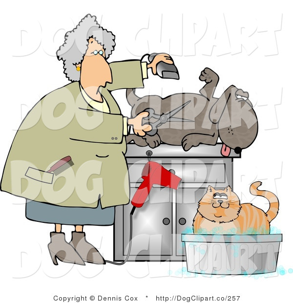 Clip Art of a Happy Dog Being Groomed and Bathing Cat