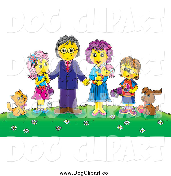 Clip Art of a Happy Family and Their Pets on a Hill with Flowers