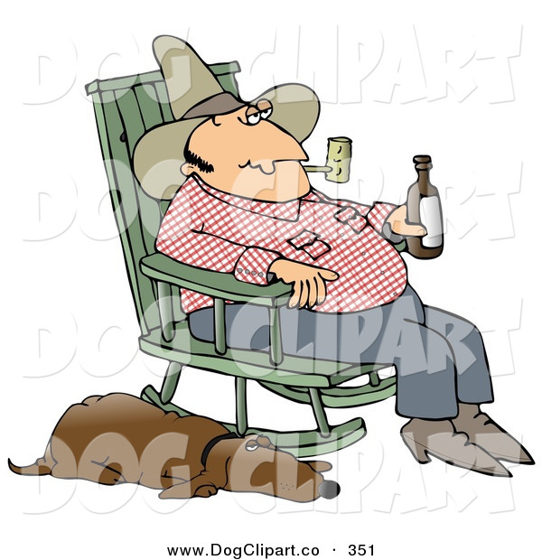 Clip Art of a Hillbilly Smoking a Tobacco Pipe, Drinking Beer and Sitting in a Rocking Chair with His Loyal Sleeping Old Hound Dog at His Side