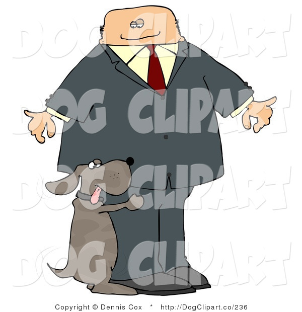Clip Art of a Humorous Bad Dog Humping a Businessman's Leg
