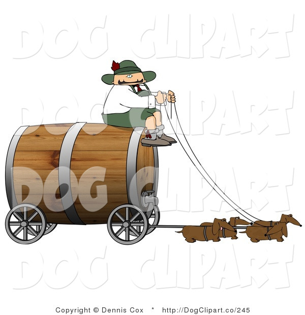 Clip Art of a Humorous German Man Guiding a Team of Weiner Dogs Pulling an Oversized Wooden Beer Keg Wagon - Oktoberfest