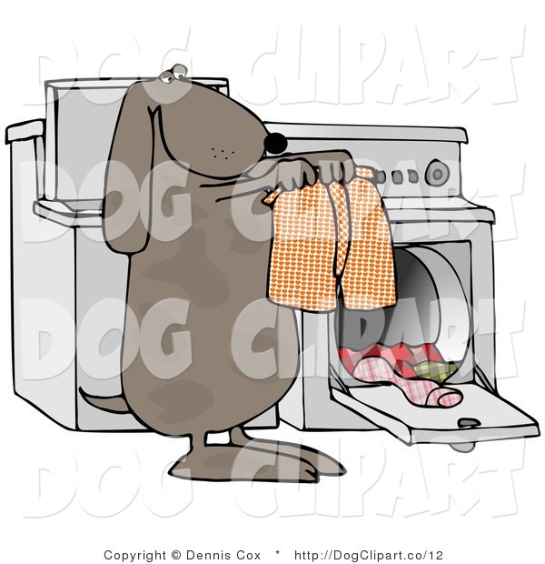 Clip Art of a Laundry Dog