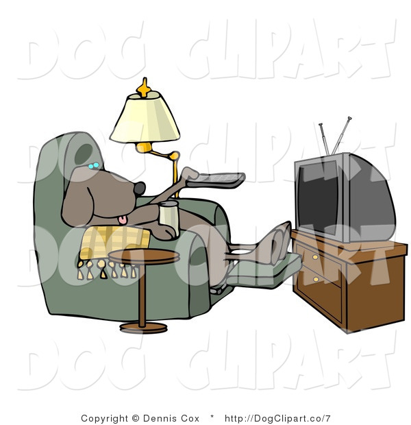 Clip Art of a Lazy Dog Watching Reality TV