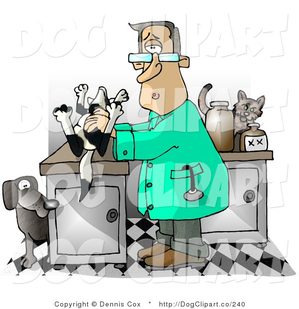 Clip Art of a Male Veterinarian Handling a Dead Dog on a Table, Trying to Figure out Cause of Death