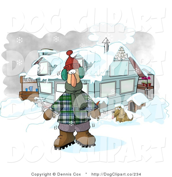 Clip Art of a Man Dressed in Winter Clothes, Standing by a House with a Dog and Hot Chocolate Stand