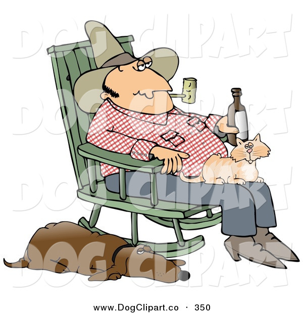 Clip Art of a Man Smoking a Pipe and Drinking a Beer While Sitting in a Rocking Chair with a Cat in His Lap and His Sleeping Hound Dog at His Side