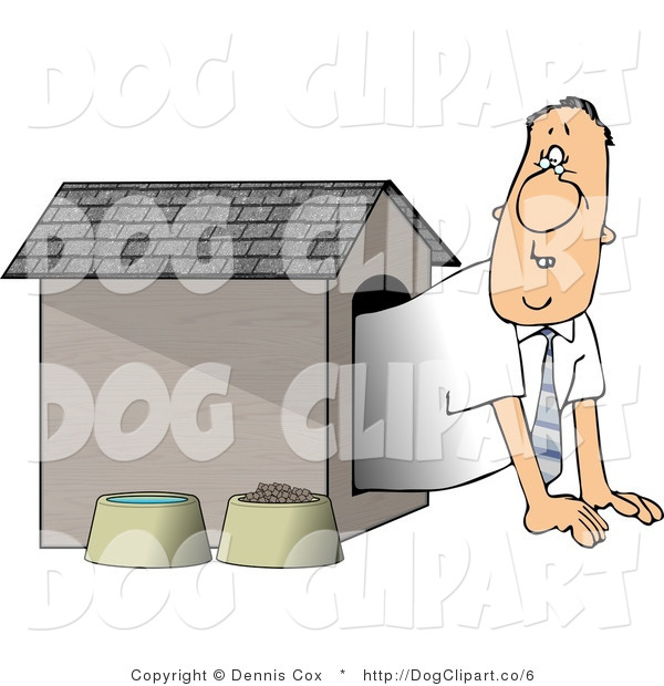 Clip Art of a Man Waiting in a Dog House