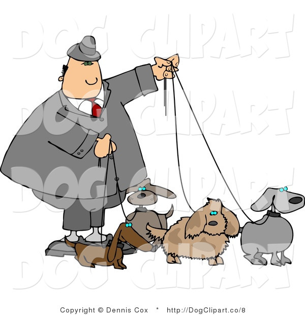 Clip Art of a Man Walking His Many Dogs