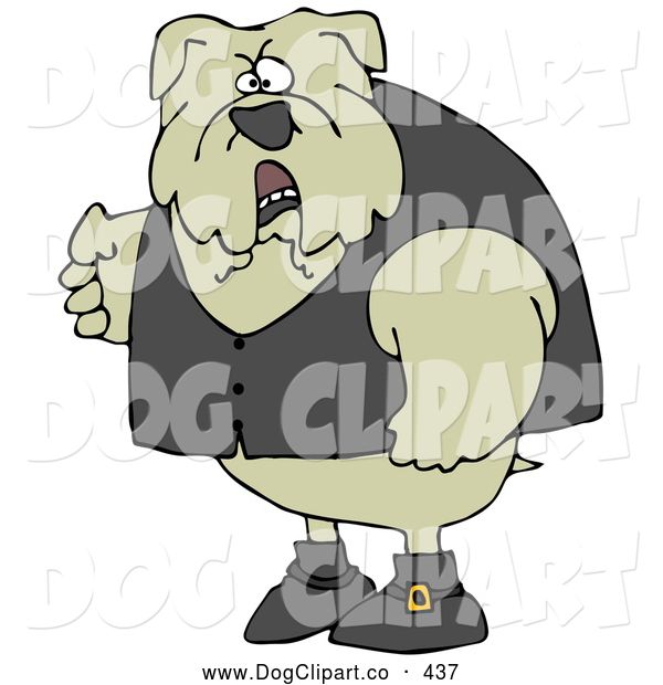 Clip Art of a Mean and Tough Bulldog Wearing a Vest and Looking Angrily at the Viewer