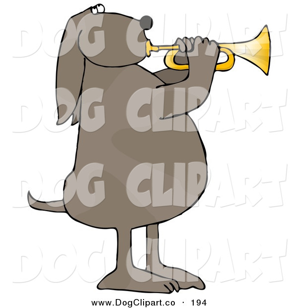 Clip Art of a Musical Brown Spotted Pet Dog Standing on His Hind Legs and Blowing While Playing a Golden Trumpet