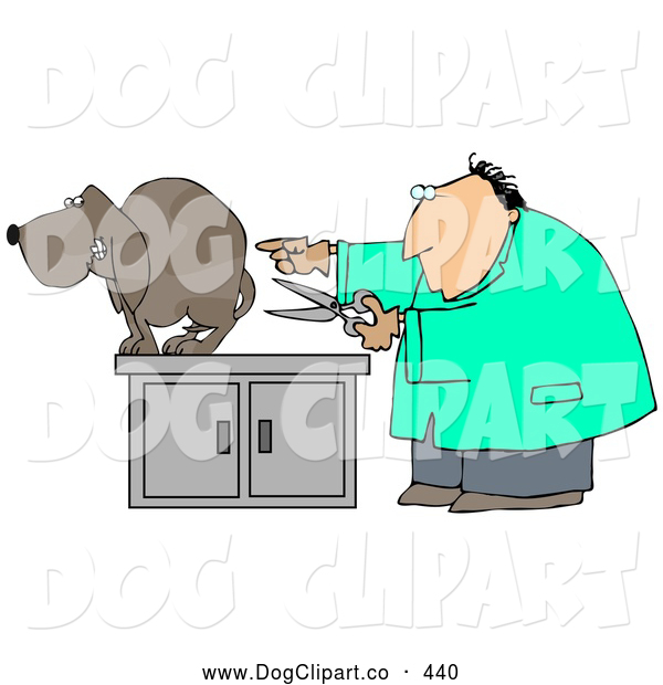 Clip Art of a Nervous Brown Dog Standing and Cowering on an Exam Table As a White Male Vet Holds a Pair of Scissors and Prepares to Neuter Him