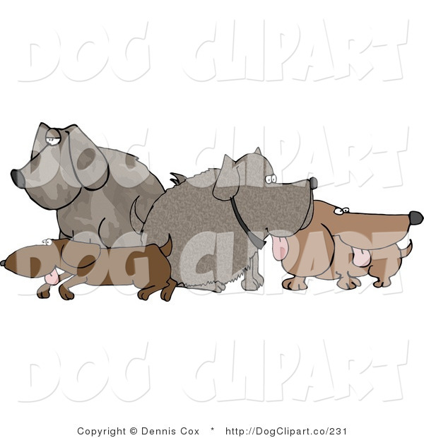 Clip Art of a Pack of Dogs Standing and Sitting in a Group