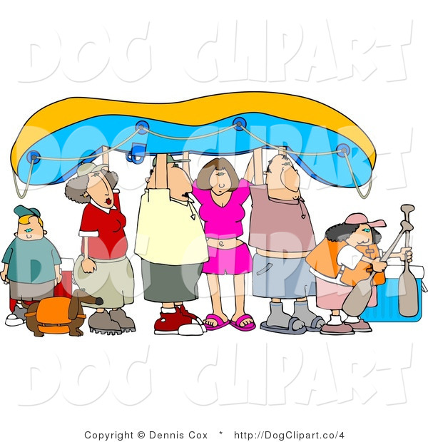 Clip Art of a Rafting Family