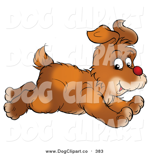 Clip Art of a Running Brown Puppy Dog Glancing While Passing