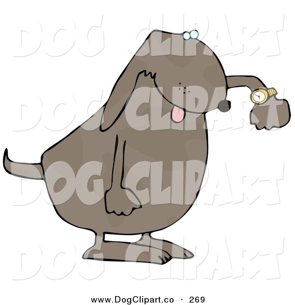 Clip Art of a Rushed Dog Checking the Time on His Wrist Watch