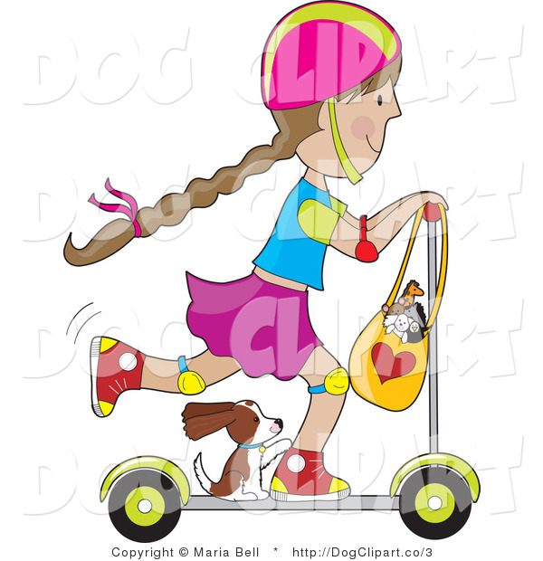 Clip Art of a Scooter Girl with a Puppy Hitching a Ride