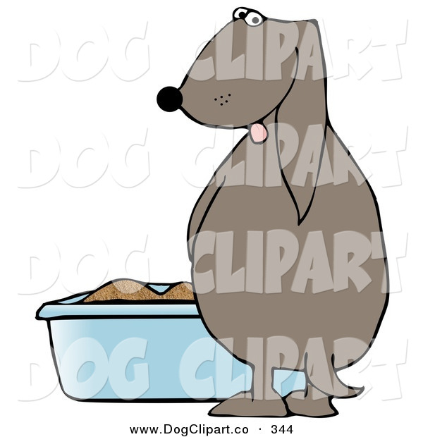 Clip Art of a Silly Dog Pissing in a Cat