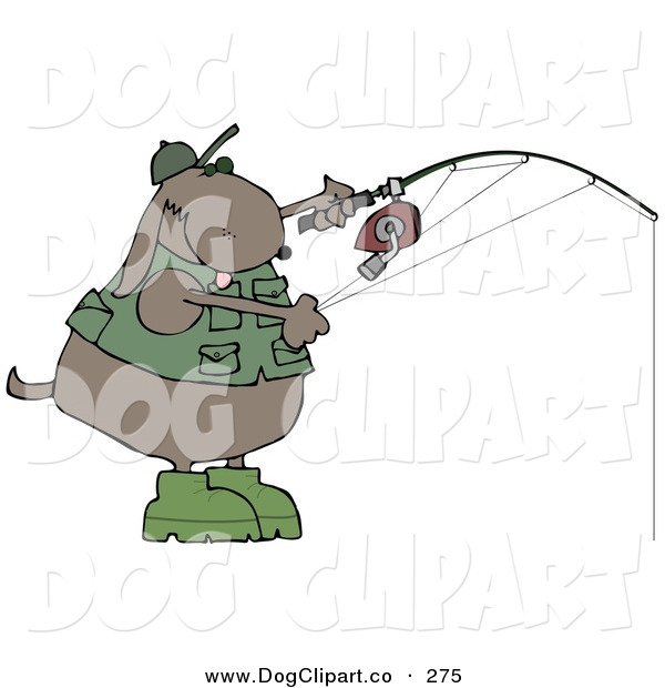 Clip Art of a Sporty Brown Dog in a Vest and Hat, Fishing