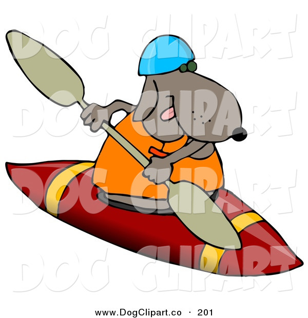 Clip Art of a Sporty Brown Dog Wearing a Life Jacket and Kayaking on White