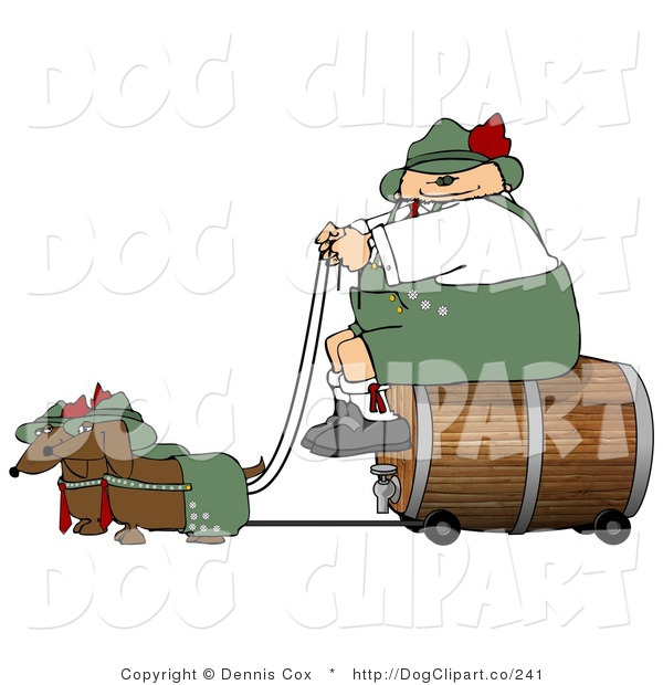 Clip Art of a Stout German Man Transporting a Wooden Barrel/Keg of Beer to a Party