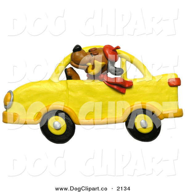 Clip Art of a Stuffy Brown Dog in a Yellow CarStuffy Brown Dog in a Yellow Car