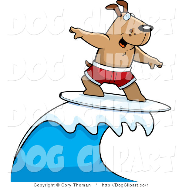 Clip Art of a Surfing Dog in Red Trunks