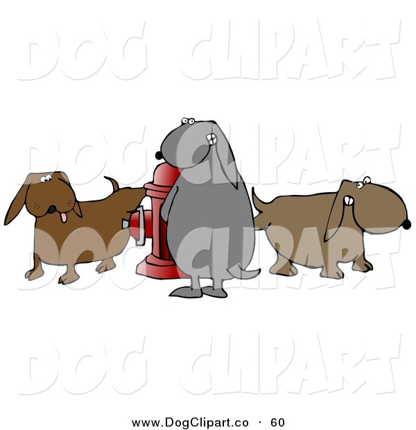 Clip Art of a Trio of Bad and Mischievous Brown and Gray Dogs Pissing on a Red Fire Hydrant