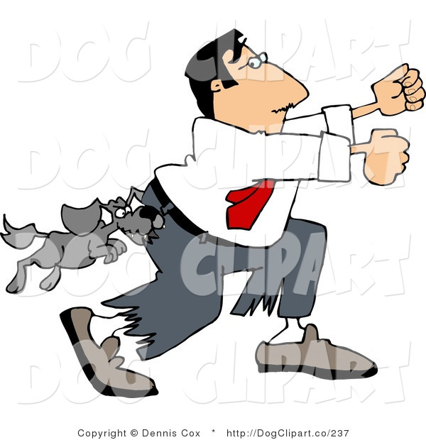 Clip Art of a Vicious Little Dog Attacking a Man Running Away
