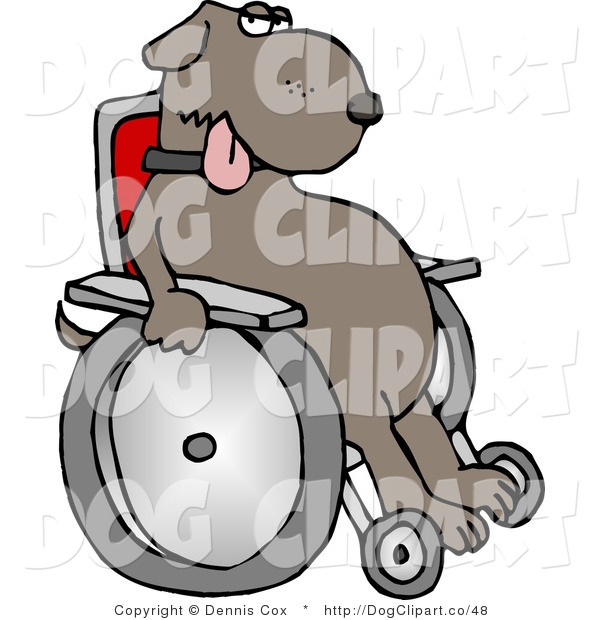 Clip Art of a Wheelchaired Dog