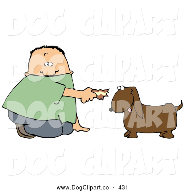 Clip Art of a White Boy Kneeling to Feed a Brown Dog Some Tasty Human Food