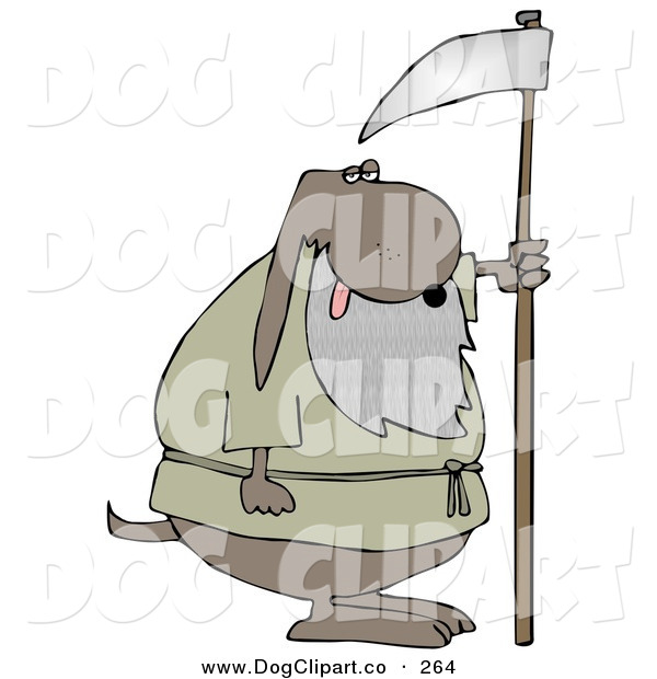 Clip Art of an Old Brown Dog with a Gray Beard, Holding a Scythe