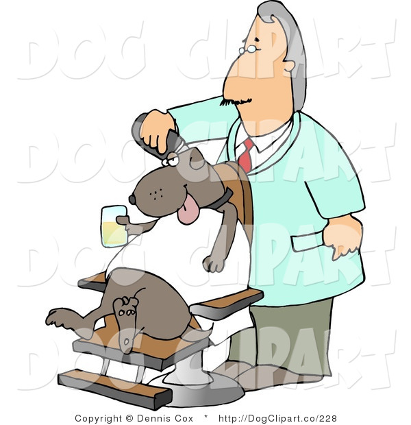 Clip Art of an Old Male Dog Groomer Grooming a Dog with a Razor While He Sits in a Chair, Holding a Drink
