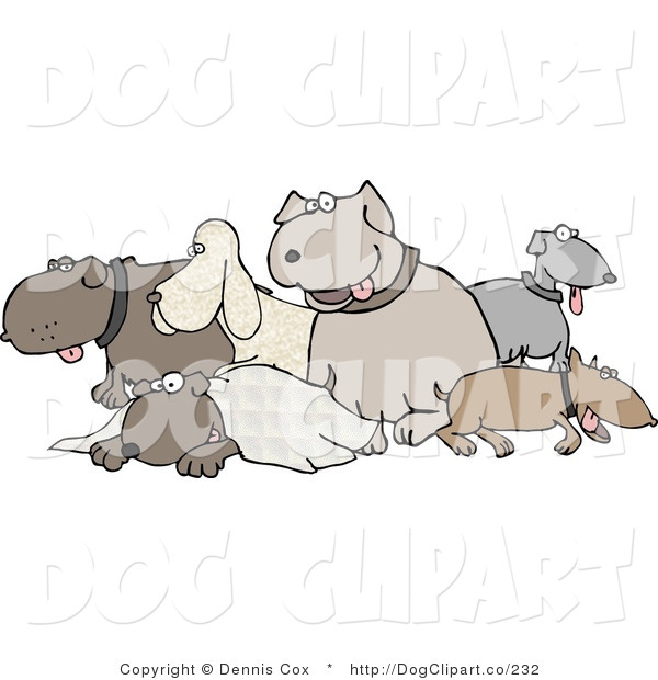 Clip Art of Different Breeds of Dogs in a Group on White