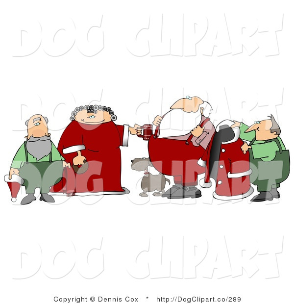 Clip Art of Elf Helpers, Dog and the Mrs Helping Santa Claus Get Ready in the Morning