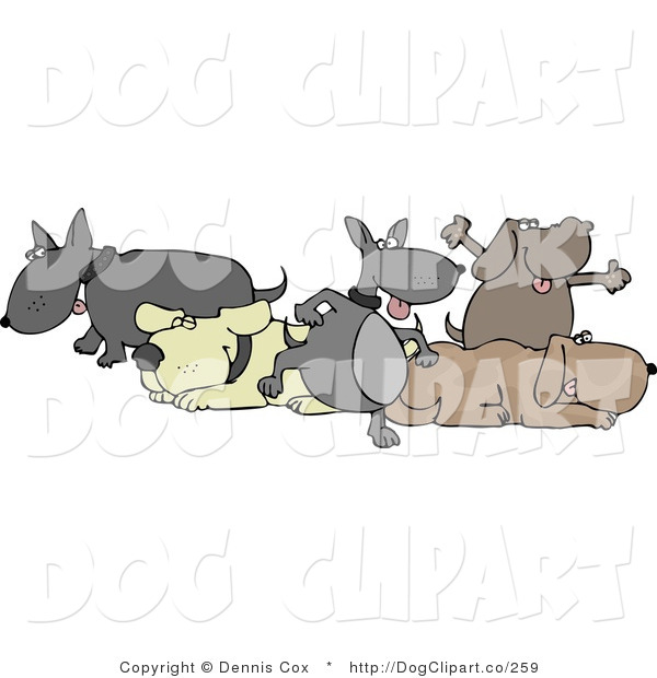 Clip Art of Five Happy Dogs