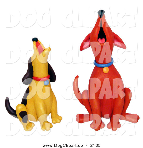 Clip Art of Howling Red and Yellow DogsHowling Red and Yellow Dogs