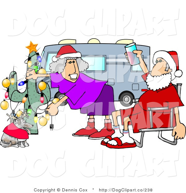 Clip Art of Mr. and Mrs. Santa Clause Celebrating Christmas on the Road with Their Dog