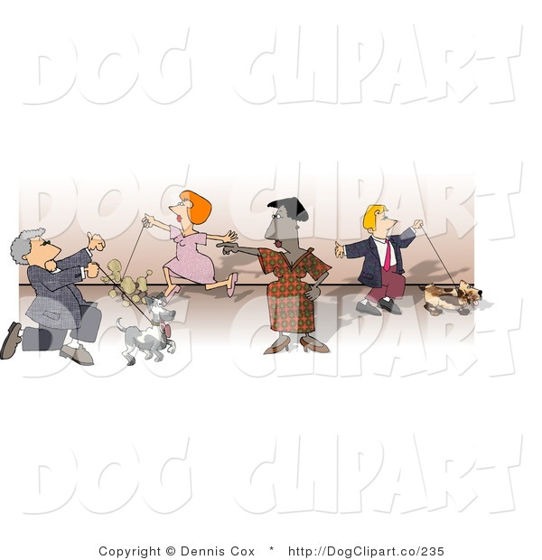 Clip Art of People Showing and Walking Their Dogs at a Dog Show