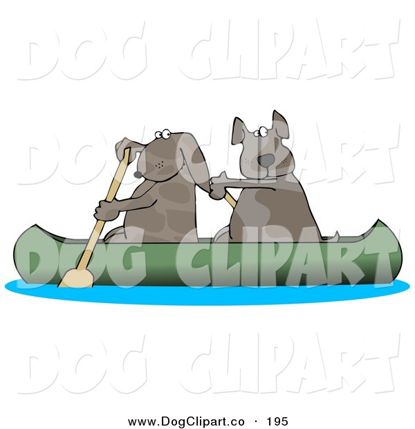 Clip Art of Two Pet Dogs Paddling a Canoe and Looking Back