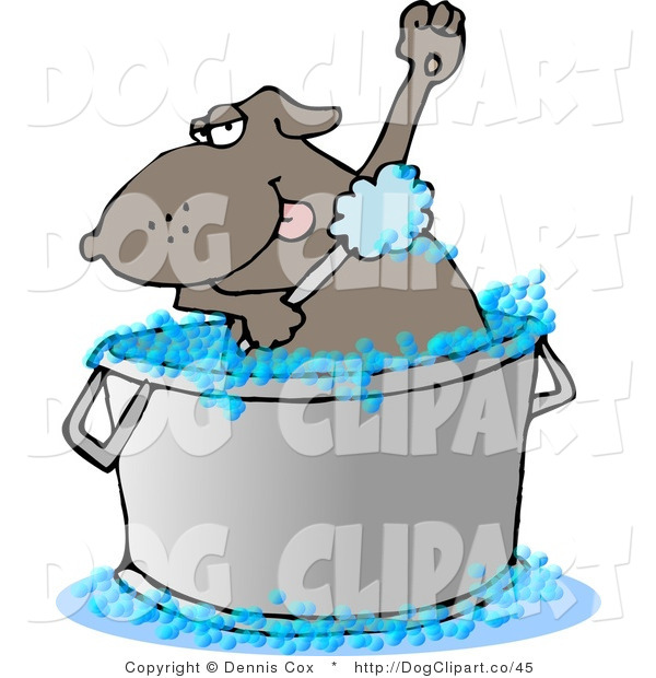 Vector Cartoon Clip Art of a Bathing Dog Scrubbing His Armpits