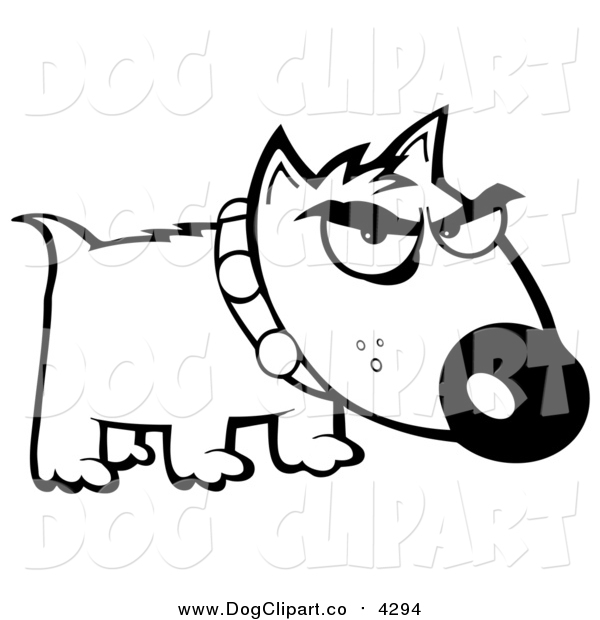 Vector Cartoon Clip Art of a Black and White Bull Terrier Dog