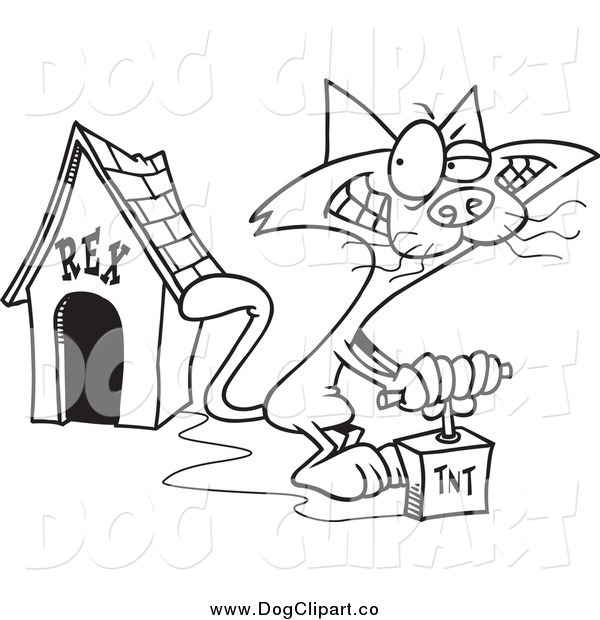 Vector Cartoon Clip Art of a Black and White Cat Blowing up a Dog House