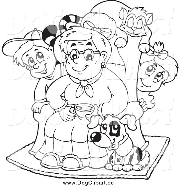 Vector Cartoon Clip Art of a Black and White Granny with Pets and Children