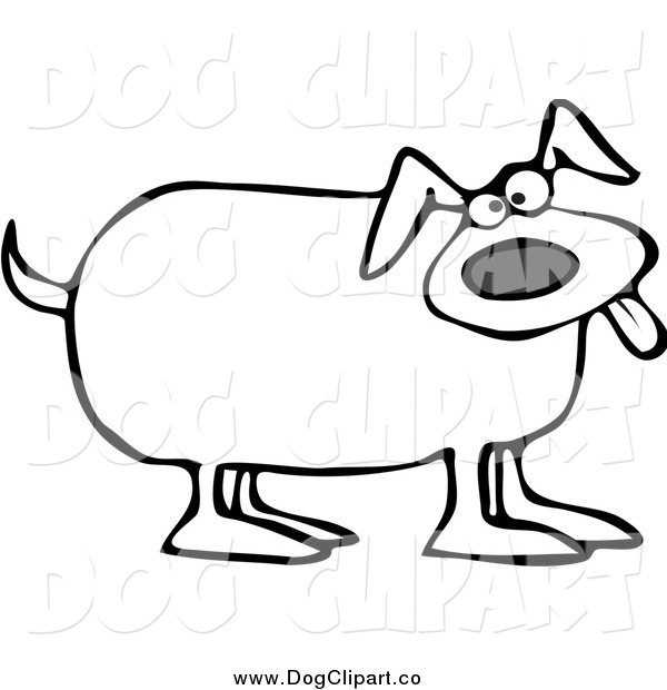 Vector Cartoon Clip Art of a Black and White Happy Dog