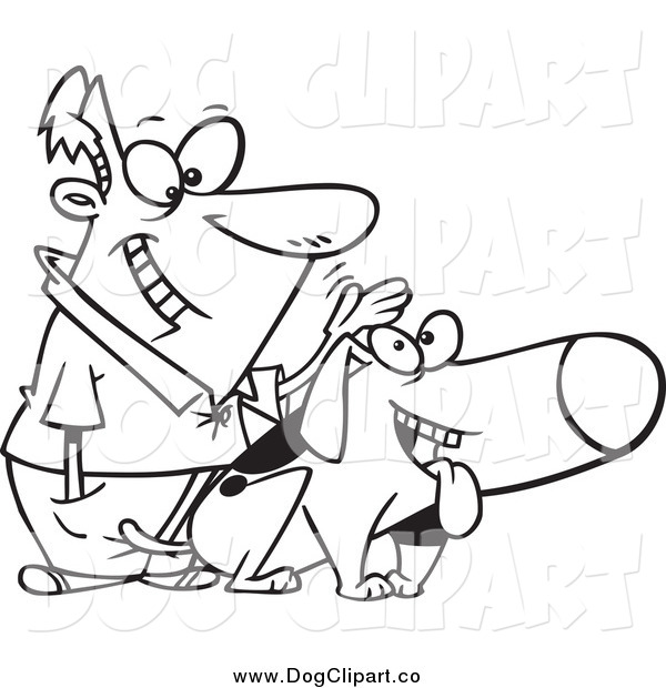 Vector Cartoon Clip Art of a Black and White Happy Man Patting His Dog