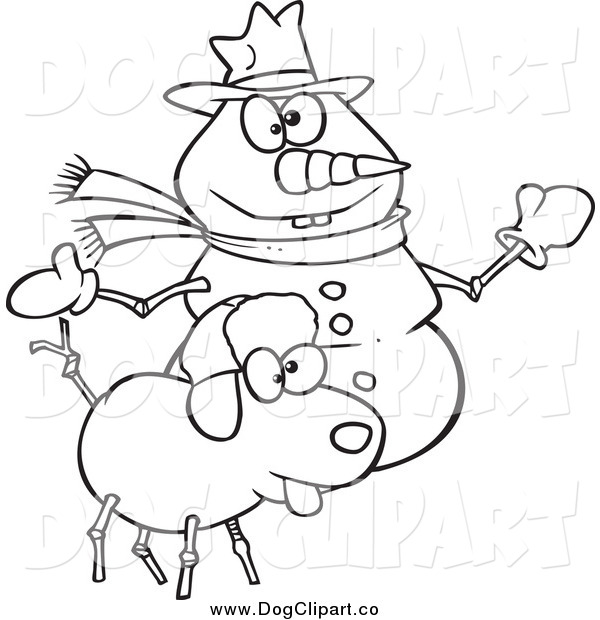 Vector Cartoon Clip Art of a Black and White Snow Dog and Snowman