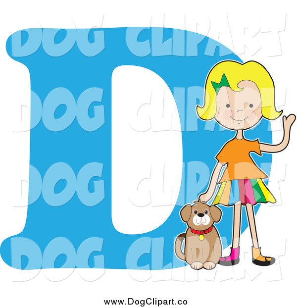 Vector Cartoon Clip Art of a Blond Girl Petting a Dog over Letter D