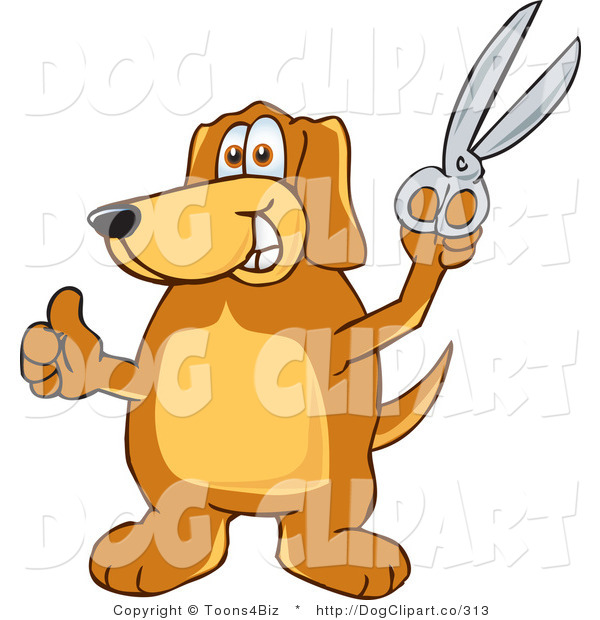 Vector Cartoon Clip Art of a Brown Dog Mascot Cartoon Character Holding a Pair of Silver Scissors